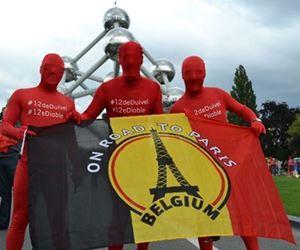 """Image de Drapeau Belge """"On Road to Paris"""""""